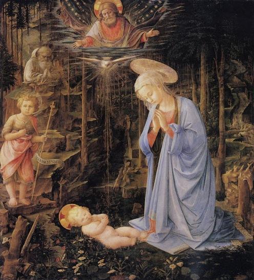 Adoración del Niño Jesús en un bosque-Lippi Filippo