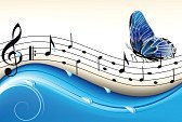 13281275-notas-sobre-un-fondo-abstracto-azul-con-una-mariposa-volando
