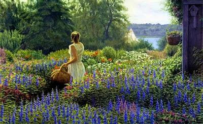 imagen paisaje+flores+mujer+dia de la primavera